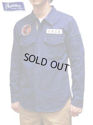 画像1: 【 Pherrow's(フェローズ) 】 ミリタリーシャツジャケット [ ANGB ] [ 10oz.ネップデニム ]