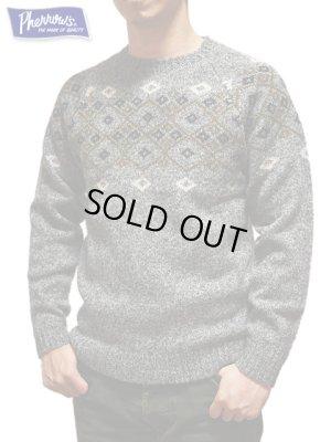 画像1: 【 Pherrow's(フェローズ) 】 ◇柄ジャガードニットセーター [ Jacquard Knit Sweater ] [ GRAY ]