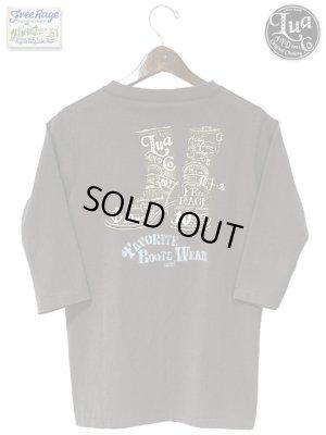 画像1: 【 LUA×FREE RAGE 】 別注14/-BD天竺ヘンリーネック七分袖Tシャツ [ 10周年記念プリント ]
