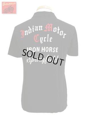 画像1: 【 Indian MotorCycle(インディアンモーターサイクル) 】 半袖刺繡入り鹿の子ポロシャツ [ IRON HORSE ]