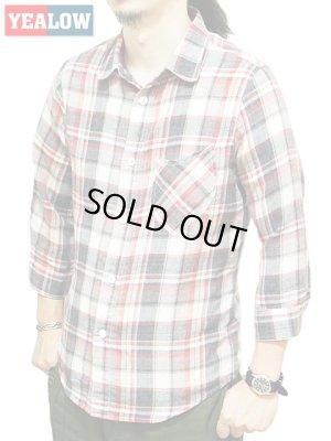 画像1: 【 YEALOW(イエロー) 】 七分袖ガーゼチェックラウンドカラーシャツ