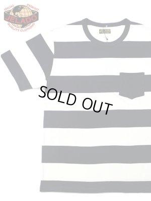 画像1: 【 JELADO(ジェラード) 】 半袖ポケット付き先染めボーダー天竺Tシャツ [ Keepers Tee ] [ NAVY ]