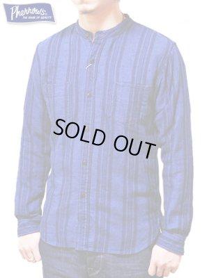 画像1: 【 Pherrow's(フェローズ) 】 インディゴストライプバンドカラーシャツ [  Band Coller Shirts ]